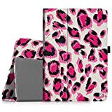 """Fintie - Funda para Samsung Galaxy Tab 3 (piel, 7""""),diseño de estampado de leopardo, color rosa"""
