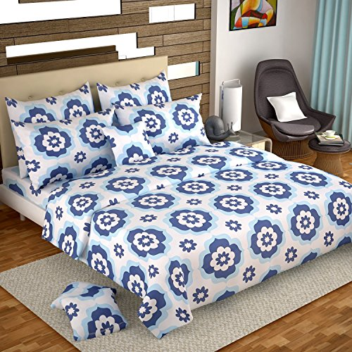 Ahmedabad Cotton Comfort 160 TC Cotton Double Bedsheet with 2 Pillow Covers - Blue and White