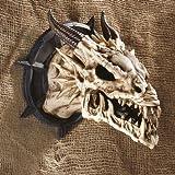 Design Toscano Trophée du Crâne Cornu de Dragon Sculpture Murale Décorative Gothique, 25 cm, polyrésine, faux os