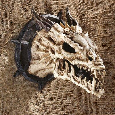 Design Toscano Gehörnter Drachenkopf Trophäe, Polyresin, antikes elfenbein, 25 cm