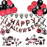 ARTISTORE Decoración de Halloween, Kit de 49 Piezas, 1 Pancarta Feliz Halloween + 1 Cadena Ligera de Cabeza de Calavera + 9 Decoraciones en Espiral + 16 Globos + 22 Accesorios para Fotos de Halloween