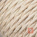Textilkabel für Lampe, verseilt, geflochten | dreiadrig - 3x0,75mm², Jute - Meterware