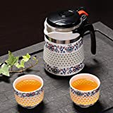 CUPWENH 3Pcs Sets Handmade Honeycomb Ceramic Kung Fu Set Tea Pot Teacup Blue And White China Convenient Teapot Tea Infuser Coffee Kettle,D