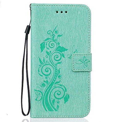 Rabat Style Portefeuille iPhone 6S Coque ( Gris ) Anti Choc, Housse Etui Apple iPhone 6 / 6S 4.7 pouce Carte Titulaire PU Cuir Poids léger Case, Élégant Floral Fleur Embossage Motif Cyan