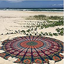 Mantel de playa de algodón de TFXWERWS, mantel de algodón redondo de estilo hippy,