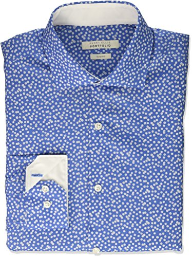 Perry Ellis herren   Hemd   -  blau -  (Perry Herren-hemd Ellis)