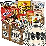 Original seit 1968 | Süßigkeiten Box | Geschenkidee| Original seit 1968 | Ostpaket | Geschenke zum 50 Geburtstag für Männer lustig | mit Mokka Bohnen, Zetti und mehr | INKL DDR Kochbuch