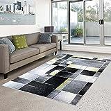 carpet city Teppich Moda Flachflor Modernes Design Kariert Türkis Schwarz Grün Wohnzimmer, Größe in cm:140 x 200 cm;Farbe:Grün