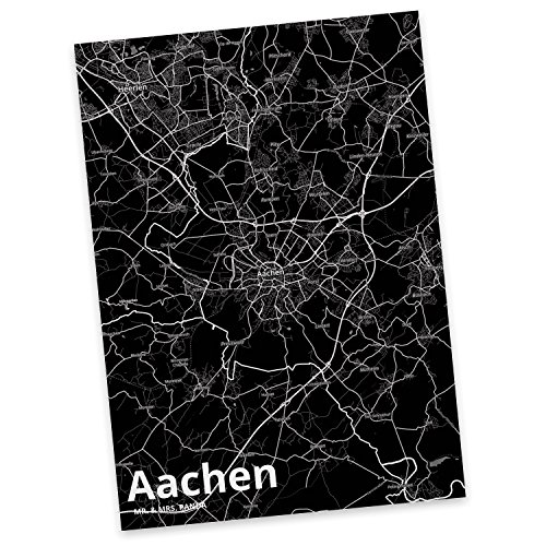 Mr. & Mrs. Panda Postkarte Stadt Aachen Stadt Black - Stadt Dorf Karte Landkarte Map Stadtplan Postkarte, Postkarten, Einladungskarte, Geschenkkarte, Brief, Spruch des Tages, Kärtchen, Geschenk, Karte, Papier, Einladung, Fan, Fanartikel, Souvenir, Andenken, Fanclub, Stadt, Mitbringsel