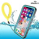 BDIG Coque Etanche iPhone X XS,  Transparent Full-Body Rugged Coque Etui Imperméable,Antipoussière,Antichoc Avec un écran Protecteur Portant Couverture Coque pour iPhone X iPhone XS (5.8', Blue)
