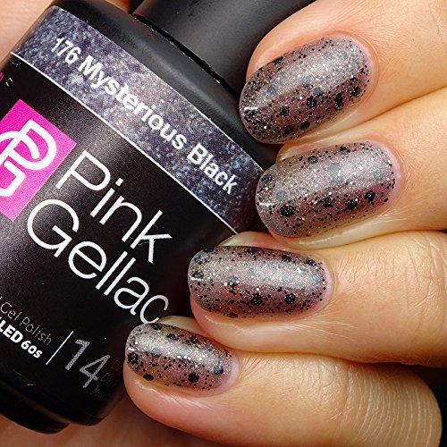 Vernis à ongles Pink Gellac 176 Mysterious Black. 15 ml gel Manucure et Nail Art pour UV LED lampe, top coat résistant shellac