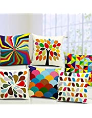 """Kridhay Natura Life Set of 5 Multi Colored Decorative Hand Made Cotton Cushion Covers 16"""" x 16"""" (40cm x 40cm)"""