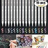 Aoyooh rotuladores metálicos, conjunto de 15 colores surtidos punta de pincel pintura de colores...