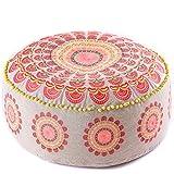 Mandala Life ART Luxus Bohemian Pouf Puff Ottoman - Hocker Fußbank - Bodenkissen - Sitzsack - 60x20cm Runde Meditationskissen - Boho Chic Zimmer Dekor - Boden Sitzmöbel