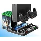 PeakLead Xbox One Supporto Verticale e Ventola di Raffreddamento, Stazione di Ricarica Caricabatteria Controller Charger, 15x