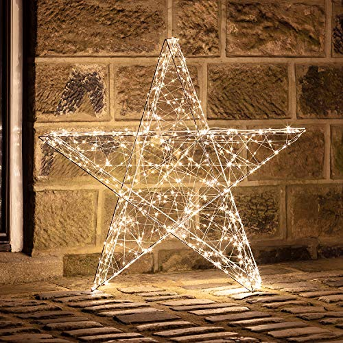 Lights4fun 600er LED 3D Stern Fensterbild Weihnachten Fensterdeko Timer Außen 82cm