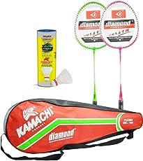 Kamachi Floro Diamond Steel Badminton Combo (Multicolor)