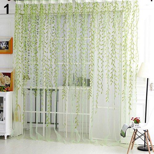 gzzebo Home Glasgarn Weidenvorhang Tüll Raumdeko Vorhang Sheer Panel Drapes, grün, 100cm x 200cm - Panel-grüne Zwei Vorhänge