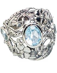 Blue Topaz, Topacio Azul 925 Plata de Ley Ring 8