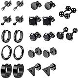 12 Pairs Black Earrings Studs, Stainless Steel CZ Screw Studs Cartilage Earrings Hoops Barbell Ear Plugs Ear Piercing…