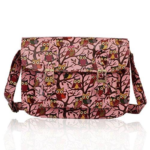 """33,02 cm (13"""") Xardi School College London Girl da donna, con tracolla, motivo: gufo, in borsa a tracolla da donna Rosa (rosa)"""