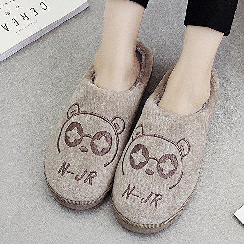 DogHaccd pantofole,Pantofole di cotone femmina maschio coppie cadono spesso soggiorno invernale home in inverno con pantofole di peluche carino Il grigio chiaro1