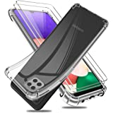 Reshias Funda para Samsung Galaxy A22 5G con Dos Cristal Templado Protector de Pantalla, Suave TPU Gel Silicona Anti-caída Pr