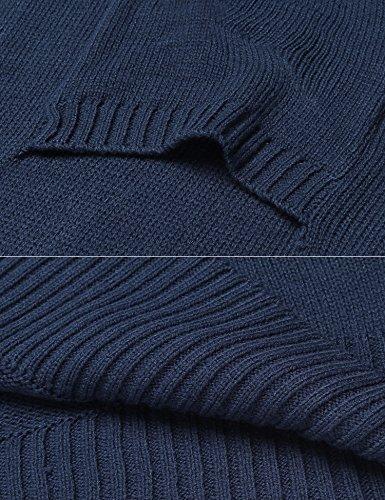 Zeela Damen Winter Herbst Cardigan Strickjacke Langarmshirt Freizeit Lang Strickmantel Jacke Blau