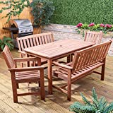 Alfresia Monaco Wooden Garden Furniture Set - Rectangular Dining Table, 2 Sofa Benches and 2 Armchairs