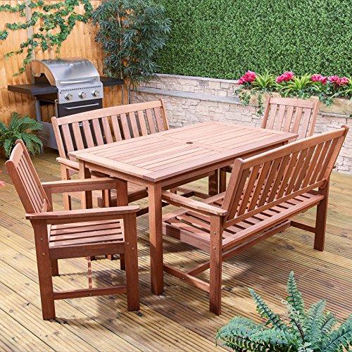Monaco Rectangular Hardwood Patio Garden Bench Chairs Furniture Set