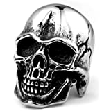 ZMY Fashion Stainless Steel Jewelry Rings, Weird Smile Skull Ring for Men