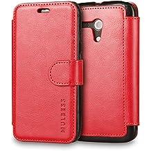 Funda Motorola Moto G 2013, Mulbess Motorola Moto G Wallet Case [Rojo] - Funda Cuero con Ranuras Cierre Magnético para Motorola Moto G