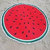 TXJ: manta redonda de playa, manta de algodón para picnic, manta redonda de yoga, toalla de playa redonda, algodón, sandía, 150cm/59.0