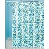 InterDesign Ringo Textil Duschvorhang | 183 cm x 183 cm Badewannenvorhang mit Kreisen | pflegeleichte Duschabtrennung aus Stoff | Polyester blau/grün