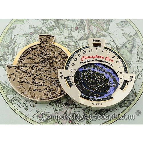 XXL PLANISPHERE geo-versand Geocoin - southern - di and Pins, Travelbug, Geocaching Coin