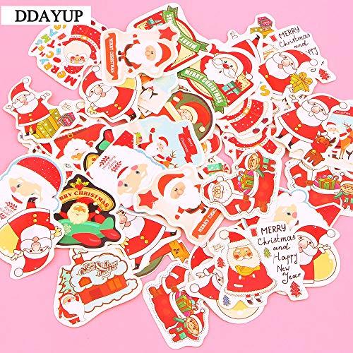 SUNYU Etiqueta engomada de Papá Noel Etiqueta engomada decorativa de la Torta de la Feliz Navidad Libro de recuerdos Álbum de DIY Etiqueta engomada del álbum Decoración 48Pcs / Box