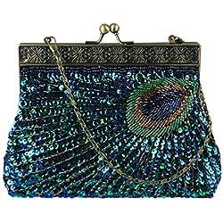 ECOSUSI Abendtasche Pailletten Clutch Damen Abend Handtasche Elegant Handtaschen Blau