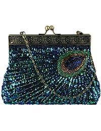 Ecosusi Antike Perlen Sequin Türkis Sunburst Kupplungs-Abend-Handtasche