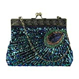 ECOSUSI Vintage Clutch Teal Peacock Unusual Antique Beaded Sequin Evening Handbag Sunburst Navy and Turquoise Eye Catching Purse