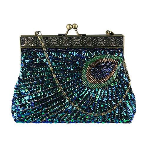ECOSUSI Abendtasche Pailletten Clutch Damen Abend Handtasche Elegant Handtaschen Blau (Satin Damen Tasche)