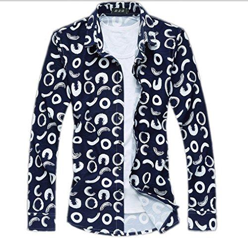 Honghu Uomo Moda Design Casuale Print Manica Lunga Vestito Camicia Blu