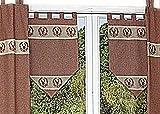 hochwertige Gardine Scheibenhänger Scheibengardine in edlem LANDHAUSstil Weinrot Beige KARIERT mit wunderschöner HäkelSPITZE und HIRSCHmotiv aus der Kollektion Handarbeitsspitzen Hossner (Scheibenhänger 40x60 cm)