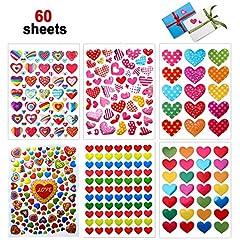 Idea Regalo - Dream Loom Adesivi Cuore,60 Fogli Colorati Adesivi Amore per Anniversari, San Valentino, Matrimoni, Scrapbooking Fai da Te(Colorato)