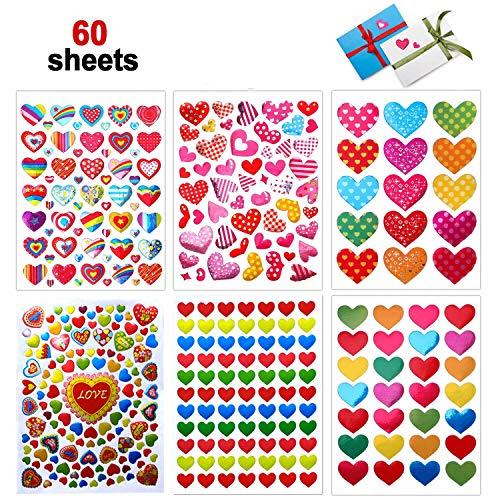 Dream Loom Adesivi Cuore,60 Fogli Colorati Adesivi Amore per Anniversari, San Valentino, Matrimoni, Scrapbooking Fai da Te(Colorato)