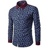 Cebbay Liquidación Camisa Manga Larga Hombre Personalidad de Moda impresión Retro Negocio Formal Delgado Ocio Camiseta de los Hombres de la Camisa(Armada, 3XL)