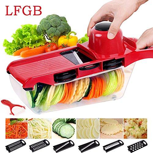 Gemüsehobel, Yegu 6+1 in 1 Mandoline Gemüseschneider Profi Gemüsereibe Kartoffelschneider Abnehmbar, Manuelle Essen Slicer für Gemüse und Obst, Pflanzliche Slicer Schnell und gleichmäßig