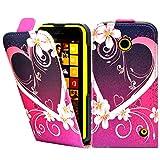 Nokia Lumia 630 Premium Leder Flip Case - Rot Hearts Pu Leder Schutz Hülle Flip Case Für Nokia Lumia 630 - thinkmobile