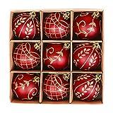 Valery Madelyn Palline di Natale 9 Pezzi 6Cm Palline di Natale in Plastica Decorazioni di Natale con Gancio Decorazioni per Albero di Natale Decorazione Natalizia Tema Oro Rosso