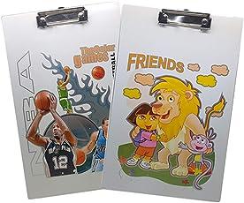 Tuelip Cartoon Printed Writing Pad, Exam Board for School Going Kids/Students Clip Board Set of 2 Exam Pad (Multi Design)