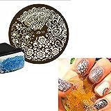 Stampo FLOWERS LEAVES stampino decorazione stencil decori unghie unghia nail art